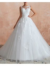 cheap -A-Line Bateau Neck Sweep / Brush Train Tulle Regular Straps Made-To-Measure Wedding Dresses with Appliques 2020