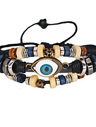 cheap -2pcs Men's Women's Bead Bracelet Layered Evil Eye Tassel Casual / Sporty Colorful EVA Resin Bracelet Jewelry Black / Rainbow For Daily