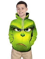 abordables -Enfants Bébé Garçon Actif Basique Créatures Fantastiques Géométrique Bloc de Couleur 3D Imprimé Manches Longues Pull à capuche & Sweatshirt Vert