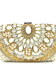 cheap -Women's Pearls / Zipper Polyester / Silk Evening Bag Color Block Champagne