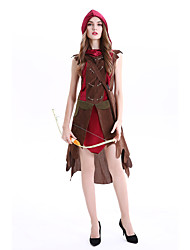 cheap -Little Red Riding Hood Cosplay Costume Masquerade Adults' Women's Cosplay Halloween Halloween Festival / Holiday Cotton / Polyester Blend Brown Women's Carnival Costumes / Dress