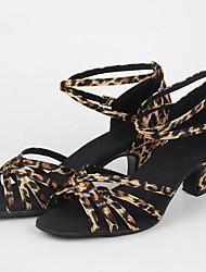cheap -Women's Latin Shoes Faux Leather Heel Cuban Heel Dance Shoes Black / Camel / khaki / Practice