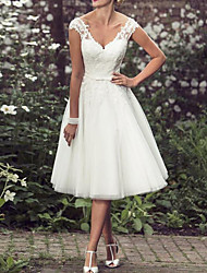 cheap -A-Line Wedding Dresses V Neck Tea Length Lace Tulle Regular Straps Mordern Vintage Modern with Buttons Beading 2020