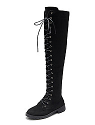 cheap -Women's Boots Over-The-Knee Boots Low Heel Round Toe Stitching Lace Satin Over The Knee Boots Casual Walking Shoes Fall & Winter Black