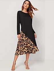 cheap -Women's Black Dress Street chic Date Street A Line Leopard Patchwork Print S M