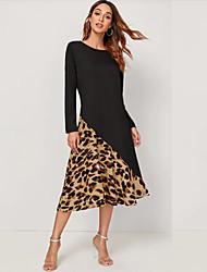 cheap -Women's Date Street Street chic A Line Dress - Leopard Patchwork Print Black S M L XL