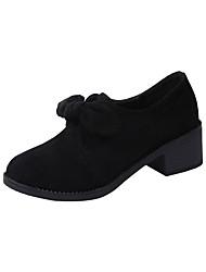 cheap -Women's Heels Chunky Heel Round Toe Bowknot PU Classic / Minimalism Spring & Summer / Fall & Winter Black / Gray
