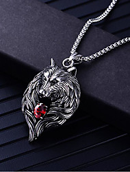 cheap -Men's Cubic Zirconia Pendant Necklace Geometrical Wolf Fashion Titanium Steel Silver 60 cm Necklace Jewelry 1pc For Daily Carnival