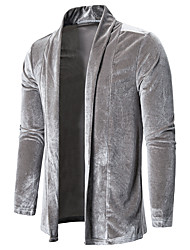 cheap -Men's Daily Fall & Winter Regular Jacket, Solid Colored Shawl Lapel Long Sleeve Polyester Black / Silver / Army Green