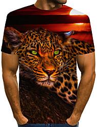 cheap -Men's T shirt Graphic Leopard 3D Animal Print Short Sleeve Daily Tops Vintage Rock Rainbow
