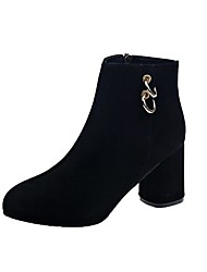cheap -Women's Boots Chunky Heel Pointed Toe Buckle Satin Booties / Ankle Boots Casual Walking Shoes Fall & Winter Black
