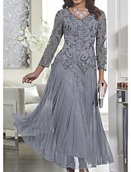 Недорогие -Жен. Тонкие С летящей юбкой Платье - Однотонный, Кружева V-образный вырез Макси