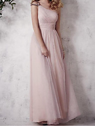 cheap -A-Line One Shoulder Floor Length Tulle Bridesmaid Dress with Pleats