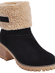 cheap -Women's Boots Snow Boots Chunky Heel Round Toe Suede Mid-Calf Boots Winter Black / Camel / Orange