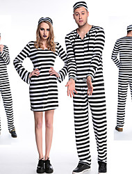 cheap -Prisoner Cosplay Costume Masquerade Adults' Couple's Cosplay Halloween Halloween Festival / Holiday Polyster Black / White Couple's Carnival Costumes