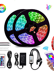 cheap -KWB 2x5M Flexible LED Light Strips / Light Sets / Smart Lights 600 LEDs SMD5050 10mm 1Set Mounting Bracket RGB Waterproof / APP Control / Cuttable 100-240 V 1 set