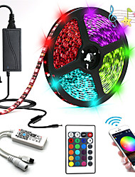 cheap -5m Light Sets / RGB Strip Lights 300 LEDs SMD5050 10mm 1 24Keys Remote Controller / 1 X 12V 5A Power Supply RGB+White Waterproof / APP Control / Decorative 12 V 1 set