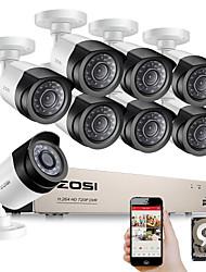 Недорогие -ZOSI HD-TVI 8-канальный 1080p системы безопасности камеры комплект с 8 * 2.0-мегапиксельной камерой ночного видения видеонаблюдения домашней безопасности видео наблюдения