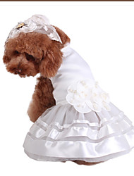 cheap -Dogs Dress Dog Clothes White Costume Polyster Floral / Botanical Wedding M L XL