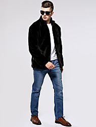cheap -Men's Winter Stand Collar Coat Long Solid Colored Holiday Long Sleeve Faux Fur Black Silver Brown US32 / UK32 / EU40 US34 / UK34 / EU42 US36 / UK36 / EU44 US38 / UK38 / EU46