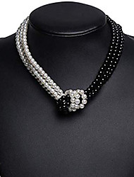 cheap -Women's Necklace Two tone Knot Asian Simple European Fashion Imitation Pearl Chrome Black Gray 40 cm Necklace Jewelry 1pc For Daily Evening Party