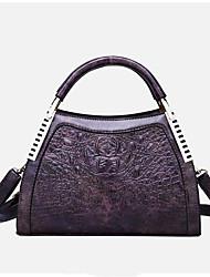 cheap -Women's PU Top Handle Bag Solid Color Black / Brown / Purple