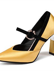 cheap -Women's Heels Chunky Heel Pointed Toe Satin Spring &  Fall Black / Gold / Yellow / Party & Evening