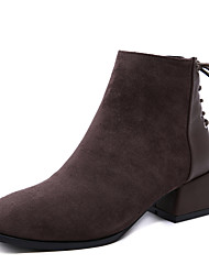 cheap -Women's Boots Chunky Heel Round Toe Faux Fur / PU Booties / Ankle Boots Vintage / Casual Winter Black / Dark Brown / Color Block