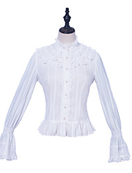 cheap -Vintage Cute Elegant Blouse / Shirt Girls' Female Chiffon Japanese Cosplay Costumes White Lace Bishop Sleeve Long Sleeve Medium Length