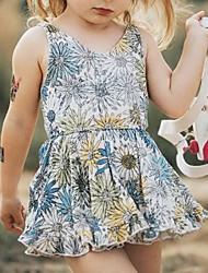 cheap -Baby Girls' Basic Floral Sleeveless Dress White