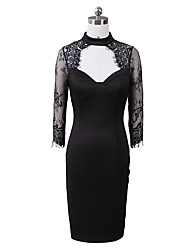cheap -Women's Black Dress Elegant Sophisticated Party / Evening Night out&Special occasion Bodycon Shift Sheath Solid Colored Crew Neck Lace Mesh Hole S M / Cotton