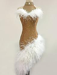 cheap -Latin Dance Dress Feathers / Fur Split Joint Tiered Women's Training Performance Sleeveless High Chinlon / Jazz