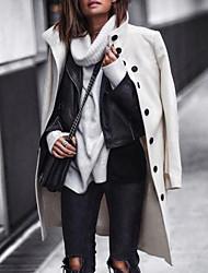 abordables -Femme Quotidien Longue Manteau, Couleur Pleine Mao Manches Longues Polyester Noir / Blanche
