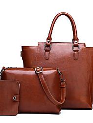 cheap -Women's Zipper PU Bag Set Solid Color 3 Pcs Purse Set Black / Brown / Dark Brown