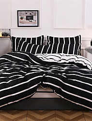 cheap -Duvet Cover Sets Solid Colored / Stripes / Ripples Polyster Printed 4 PieceBedding Sets
