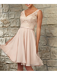 cheap -A-Line V Neck Knee Length Chiffon / Lace Bridesmaid Dress with Lace / Sash / Ribbon / Ruching