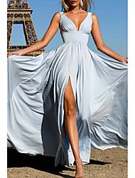 cheap -A-Line Open Back Formal Evening Dress Plunging Neck Sleeveless Floor Length Satin with Pleats Split Front 2021