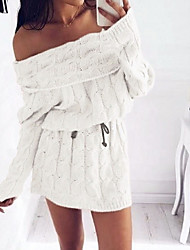 cheap -Women's Sweater Dress - Long Sleeve Solid Colored Off Shoulder Loose White Purple Blushing Pink Gray S M L XL