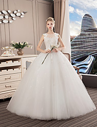 cheap -A-Line Jewel Neck Floor Length Polyester / Lace / Tulle Regular Straps Formal / Sexy See-Through / Illusion Detail Wedding Dresses with Lace / Crystals 2020
