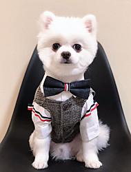Недорогие -Собаки Коты Плащи смокинг Жакет Одежда для собак Сохраняет тепло Черный Хаки Костюм Полиэстер Однотонный Свадьба XS S M L XL XXL