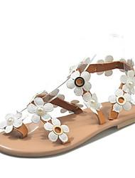 cheap -Women's Sandals Flat Heel Round Toe PU Summer Dark Brown