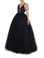 cheap -A-Line Spaghetti Strap Floor Length Satin / Tulle Elegant Formal Evening Dress with Pleats 2020