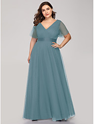 cheap -A-Line V Neck Floor Length Tulle Bridesmaid Dress with Sash / Ribbon / Ruching / Butterfly Sleeve