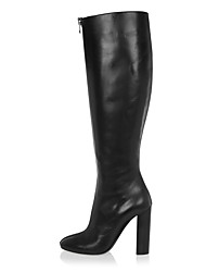 cheap -Women's Boots Knee High Boots Chunky Heel Round Toe Faux Leather Knee High Boots British / Minimalism Spring &  Fall / Winter Black