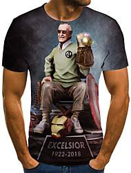 cheap -Men's Plus Size Cartoon Pleated Print T-shirt Street chic Weekend Round Neck Rainbow / Short Sleeve