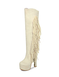 cheap -Women's Boots Knee High Boots Chunky Heel Round Toe Tassel Synthetics Knee High Boots Fall & Winter Black / Almond / Red / Party & Evening