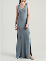cheap -Sheath / Column Plunging Neck Floor Length Jersey Bridesmaid Dress with Split Front