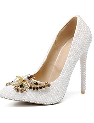 cheap -Women's Wedding Shoes Stiletto Heel Pointed Toe Bowknot / Imitation Pearl PU Fall & Winter White / Party & Evening