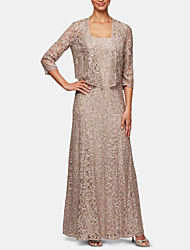 cheap -Two Piece Mother of the Bride Dress Plus Size Sparkle & Shine Scoop Neck Floor Length Lace 3/4 Length Sleeve with Crystals 2020