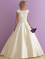 cheap -A-Line Jewel Neck Floor Length Satin Cap Sleeve Made-To-Measure Wedding Dresses with Sashes / Ribbons / Lace Insert 2020